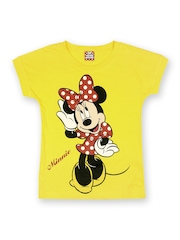 Minnie Mouse by Disney Girls Yellow Printed T-shirt