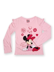 Minnie Mouse by Disney Girls Pink Printed T-shirt