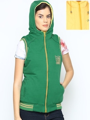 Fort Collins Women Green & Yellow Sleeveless Reversible Jacket