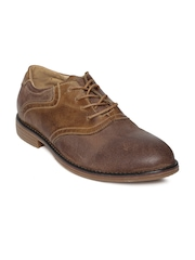 Famozi Men Brown Leather Casual Shoes