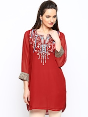 Aneri Women Red Embroidered Kurti