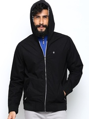 Peter England Men Black Hooded Jacket