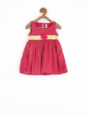 Yellow Kite Baby Girls Dark Pink Fit & Flare Dress