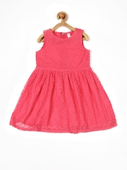 Yellow Kite Girls Coral Pink Fit & Flare Dress