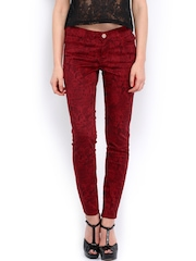 Tokyo Talkies Women Red Printed Slim Fit Trousers