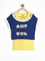 Yellow Kite Girls Yellow Racerback T-shirt with Blue Crop Top