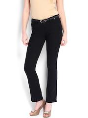 Levis Women Black Super Straight Fit Mini Boot-Cut Jeans