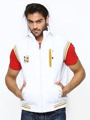 Fort Collins Men White Sleeveless Jacket With Detachable Hood