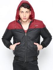 Men Red & Black Hooded Jacket Fort Collins