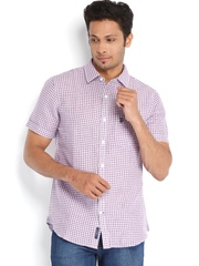 U.S. Polo Assn. Men Purple Checked Linen Tailored Fit Shirt