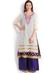 Folklore Women Off-White & Purple Anarkali Kurta with Sharara Pants