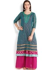Folklore Women Green & Pink Anarkali Kurta with Sharara Pants