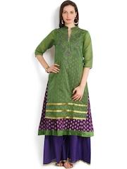 Folklore Women Green & Purple Anarkali Kurta with Sharara Pants