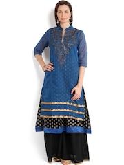 Folklore Women Blue & Black Anarkali Kurta with Sharara Pants