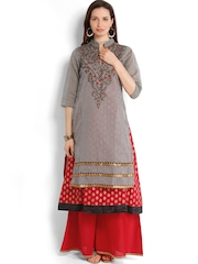 Folklore Women Grey & Red Anarkali Kurta with Sharara Pants