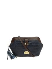 Hidesign Navy & Brown Leather Sling Bag