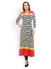 Cottinfab Women Black & Off-White Printed Kurta