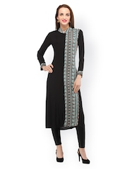 Cottinfab Women Black Kurta