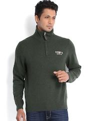 U.S. Polo Assn. Men Olive Green Woollen Sweater