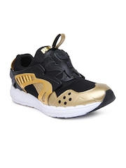 Puma Men Black & Gold-Toned Future Disc Lt Opulence Sneakers
