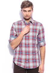GANT Men Red Checked Linen Fitted Casual Shirt
