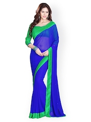 Mirchi Fashion Blue Georgette Fashion Saree