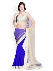 Beige & Royal Blue Net Fashion Saree Mirchi Fashion