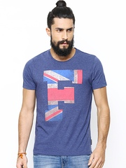 French Connection Men Blue Printed T-shirt