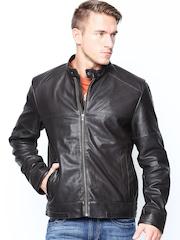 BARESKIN Men Dark Brown Leather Jacket