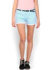 Kook N Keech Women Blue Low Rise Heart Printed Denim Shorts