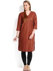 Fabindia Women Rust Red Anghrakha Silk Kurta