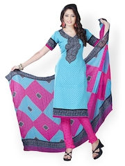 Tamanna Fashions Blue & Pink Crepe Unstitched Dress Material