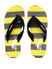 High Sierra Men Black & Yellow Striped Flip-Flops