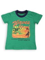 Gini and Jony Boys Green Printed T-shirt