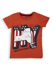 Gini and Jony Boys Orange Printed T-shirt