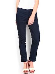 Calvin Klein Jeans Women Blue Corduroy Trousers