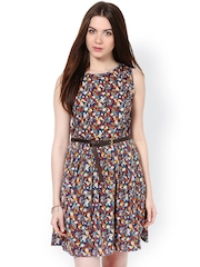 La Zoire Navy Printed Fit & Flare Dress