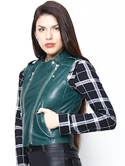 BARESKIN Women Green Leather Sleeveless Jacket