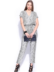 Miss Chase Women Black & Off-White Printed Jumpsuit