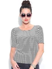 Miss Chase Women Black & White Striped Top