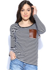 Miss Chase Women Black & White Striped Top