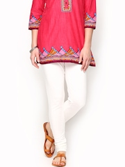 W Women Cream-Coloured Churidar Leggings