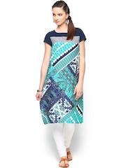 W Women Sea Green & Blue Printed Kurta