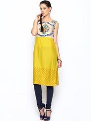 W Women Beige & Yellow Printed Kurta