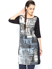 W Women Off-White & Black Printed Kurta