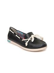 VAPH Women Black Skyler Leather Loafers