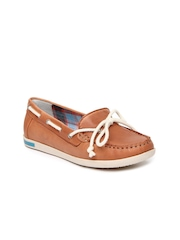VAPH Women Rust Orange Skyler Leather Loafers