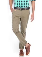 Highlander Men Olive Green Slim Fit Trousers