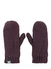 Vero Moda Women Burgundy Fingerless Gloves