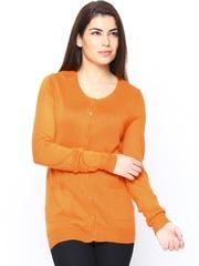 Vero Moda Women Orange Wool Blend Cardigan